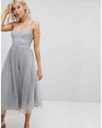 New Look Платье Миди Из Сетки С Блестками -серый - Многоцветный