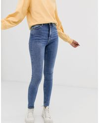 Weekday High Waisted Skinny Jeans In Mid Blue