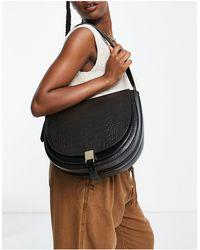 Reiss Hurlingham Croc Shoulder Bag - Brown