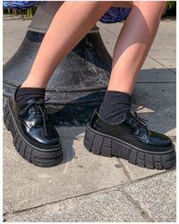 ASOS Черные Туфли На Массивной Плоской Подошве Со Шнуровкой - Черный