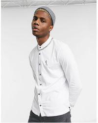 Religion Grandad Collar Shirt With Praying Skeleton - White