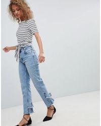 Miss Selfridge - Ruffle Back Straight Leg Jeans - Lyst