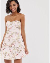 ASOS Premium Floral Cage Mini Prom Dress - Multicolour