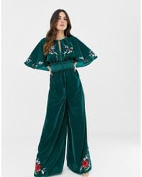 ASOS Velvet Kimono Jumpsuit With Embroidery And Embellishment - Green