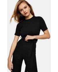 TOPSHOP Ribbed T-shirt Jumpsuit - Black