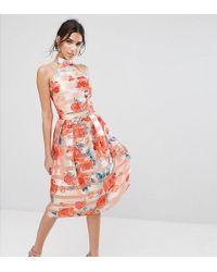 True Violet - Midi Skirt In Stripe Organza - Lyst