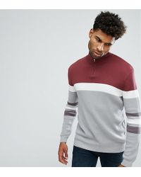 ASOS - Tall Ribbed Half Zip Jumper In Burgundy And Charcoal - Lyst