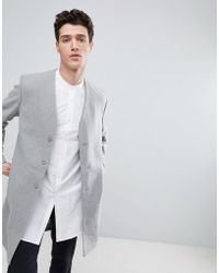 Native Youth Collarless Overcoat - Grey