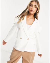 UNIQUE21 Puff Sleeve Blazer - White