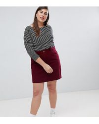 ASOS - Asos Design Curve Cord Original Skirt In Berry - Lyst