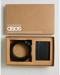 ASOS - Leather Belt & Wallet Gift Set With Saffiano Emboss - Lyst