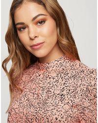 Miss Selfridge Блузка Мраморного Розового Цвета С Высоким Воротом -розовый Цвет