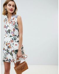 Mango - Floral Button Through Sleeveless Dress In Multi - Lyst