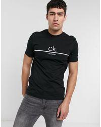 Calvin Klein Черная Футболка С Линией И Логотипом Посередине -черный Цвет