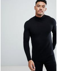 ASOS - Muscle Fit Turtle Neck Jumper In Black - Lyst