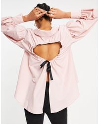 ASOS Volume Detail Collared Shirt With Open Back - Pink