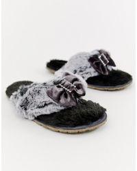 Bedroom Athletics Jacqui Faux Fur Toe Post Slipper In Charcoal - Gray