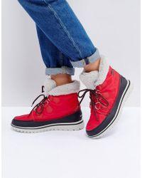 Sorel Cosy Carnival Red Waterproof Flat Boots