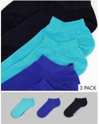 DIESEL Набор Из 3 Пар Носков (черные/синие/бирюзовые) -разноцветный - Синий
