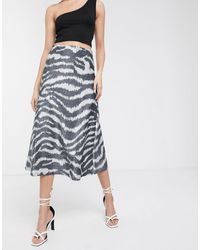Soaked In Luxury Zebra Print A-line Skirt - Blue