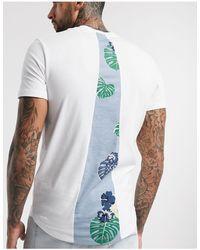Jack & Jones Camiseta con estampado en la parte posterior y bajo redondeado en blanco Originals