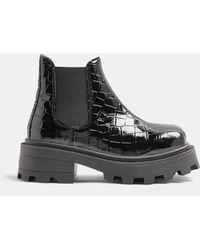 TOPSHOP Chelsea Boots Met Vierkante Neus En Dikke Zool - Zwart