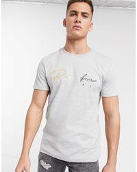 """River Island - T-shirt grigia con scritta """"prolific"""" ricamata - Lyst"""