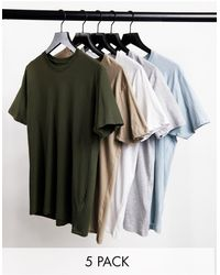Brave Soul 5 Pack Crew Neck T-shirts - Green