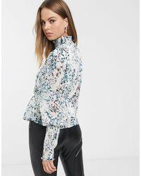 Vero Moda High Neck Blouse With Peplum Waist - Multicolour