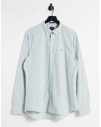 GANT Оксфордская Рубашка На Пуговицах Приталенного Кроя В Зеленую Полоску С Логотипом -зеленый