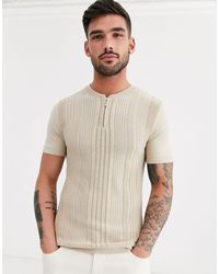 River Island Knitted Turtle Neck T-shirt - Natural