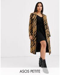 ASOS ASOS DESIGN Petite - Manteau croisé à imprimé animal effet brossé - Multicolore