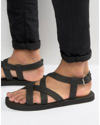 ASOS - Cross Over Sandals In Black Nubuck Leather - Lyst