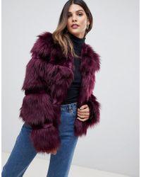 Urbancode - Short Coat In Faux Fur Mix - Lyst