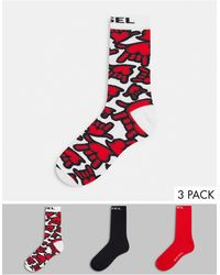 DIESEL 3 Pack Socks With Hand Print - Red