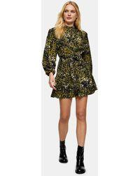 TOPSHOP - Платье-рубашка Мини Цвета Хаки С Оборкой И Леопардовым Принтом -зеленый - Lyst