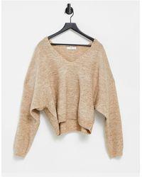 Mango V-neck Sweater - Natural