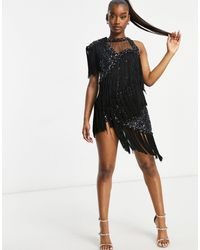 A Star Is Born Tassel One Shoulder Embellished Mini Dress - Multicolour