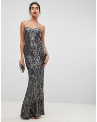 Bariano Embellished Patterned Sequin Sweetheart Bandeau Maxi Dress In Charcoal - Gray