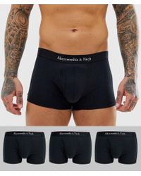 Abercrombie & Fitch 3 Pack Logo Waistband Trunks In Black