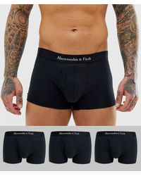 Abercrombie & Fitch 3 Pack Logo Waistband Trunks - Black