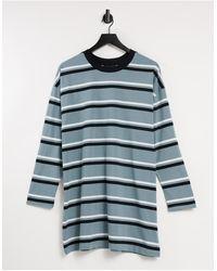 ASOS Vestito T-shirt oversize a maniche lunghe blu polvere a righe bianche e nere