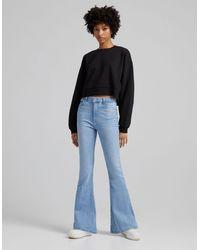 Bershka 90's Flare Jeans - Blue