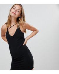 Miss Selfridge Mini Dress With Strap Detail In Black