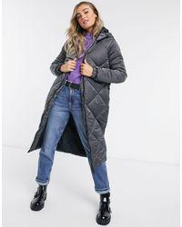 Brave Soul Jaz Satin Longline Puffer Jacket-grey