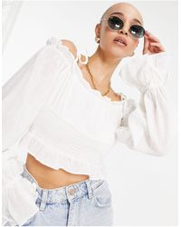 Pimkie Shirred Milkmaid Long Sleeve Top With Tie Detail - White