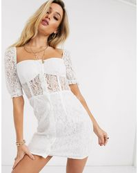 In The Style Button Down Puff Sleeve Dress - White