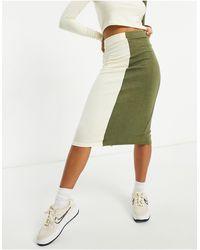 UNIQUE21 Falda midi y color crudo con diseño en dos tonos - Verde