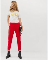 SELECTED - Femme High Waisted Cigarette Pants With Pleat Detail - Lyst