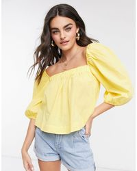 Mango Poplin Square Neck Blouse With Puff Sleeves - Yellow